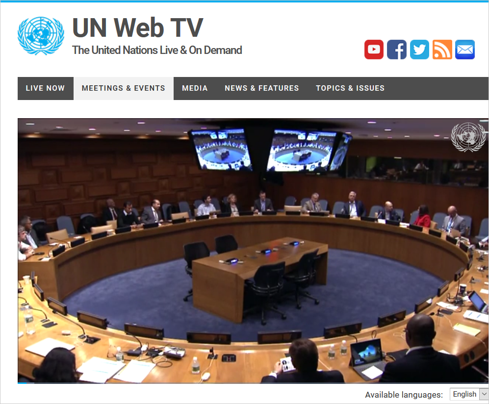 UN Web TV live streaming schedule with Teamup Calendar