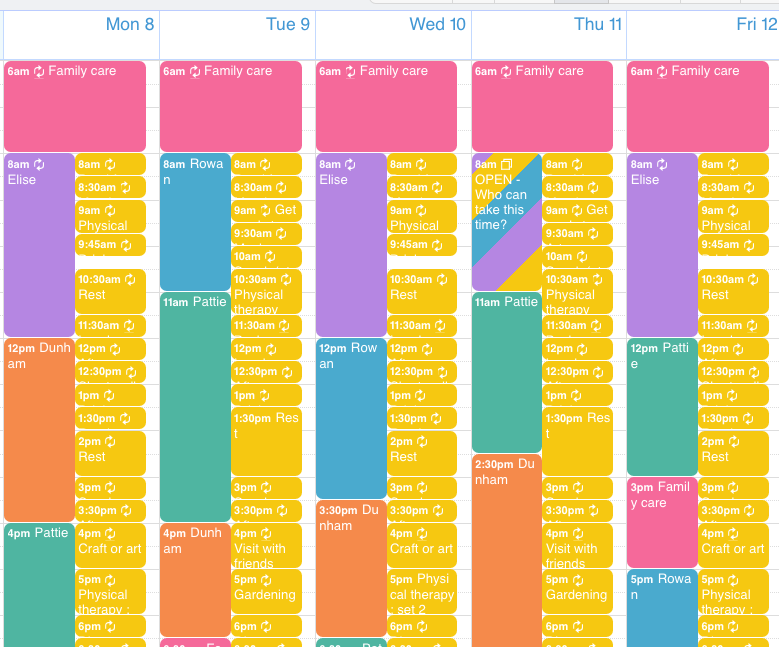 A shared calendar can show the scheduled times for all caregivers.