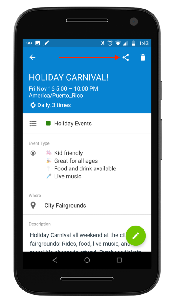 Share your events via mobile now with Teamup mobile apps