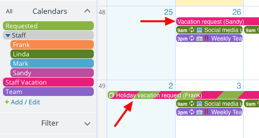 Use Teamup Calendar as an approval system for calendar requests.