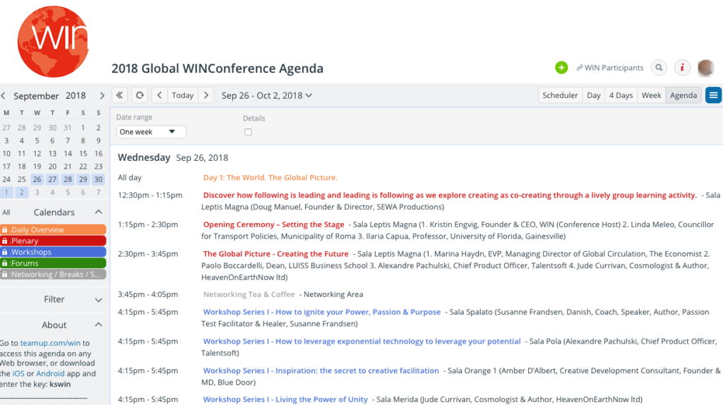 WINConference agenda on a Teamup Calendar