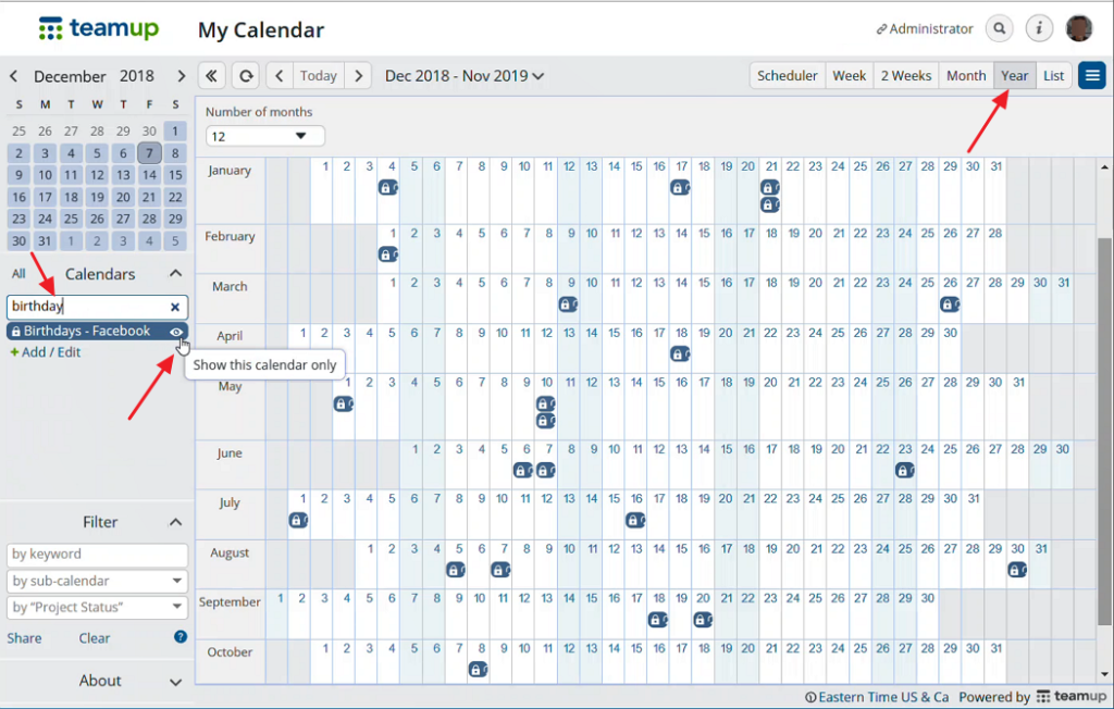 Get a better view of birthdays with Teamup Calendar