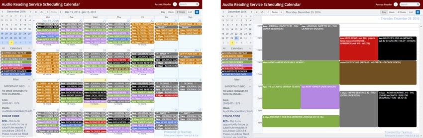 Audio reading materials distributed around the clock with Teamup Calendar