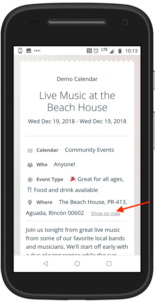 Add map location details to any event automatically with Teamup