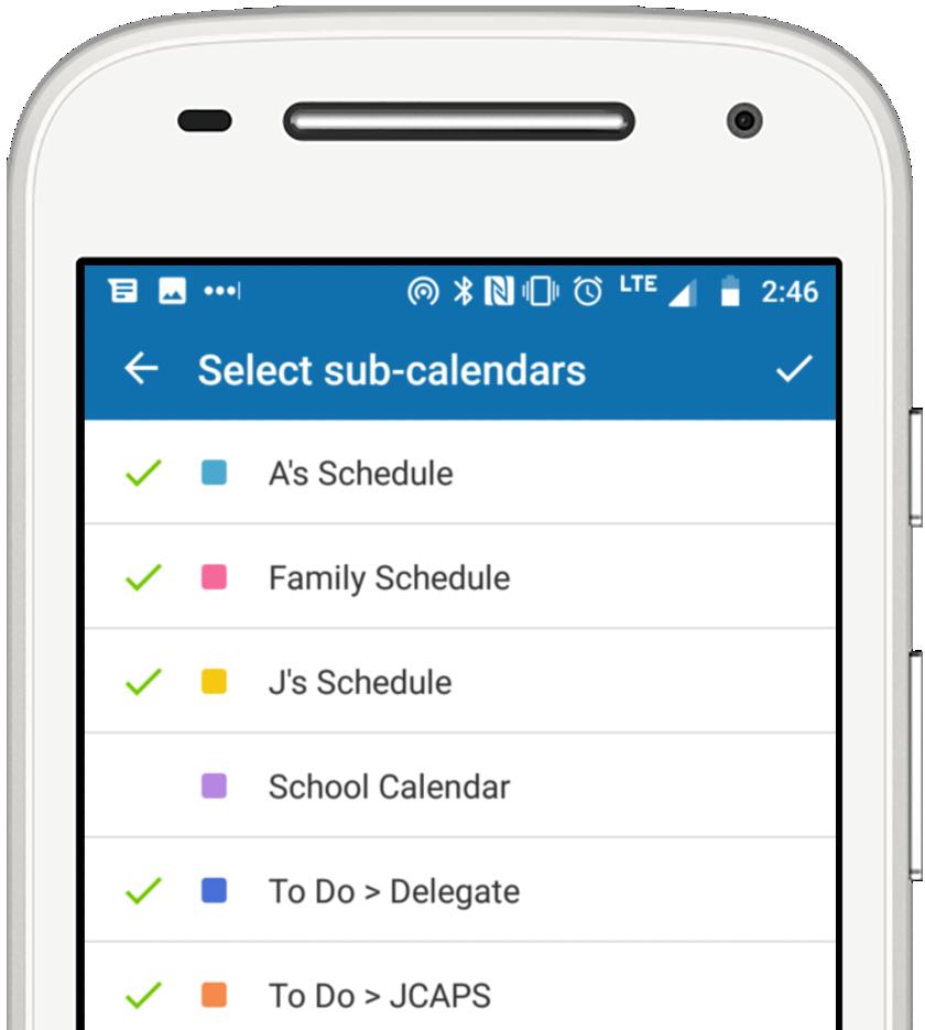 widget - select calendars