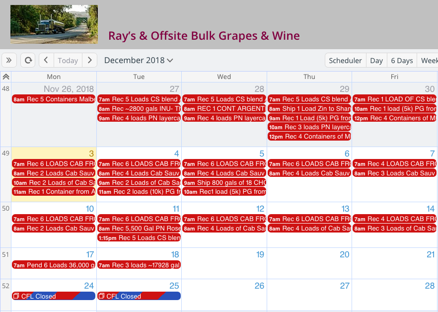 Millions of gallons of wine with Teamup Calendar