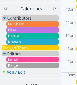 Sub-calendars and folders are ordered alphanumerically