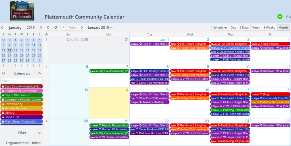 Plattsmouth Library uses Teamup for a joint community calendar