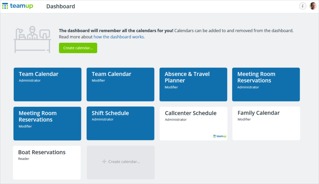 The Teamup account dashboard keeps all your calendars in one place.