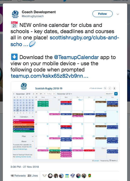 A shared community calendar powered by Teamup