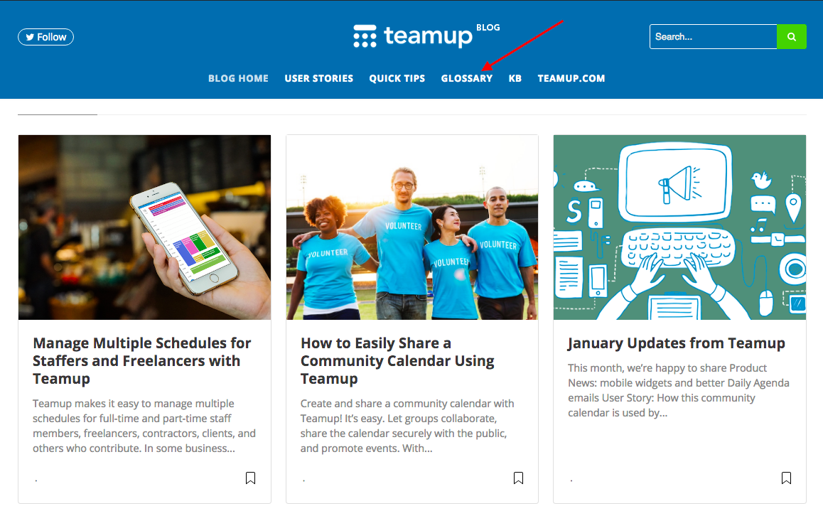 New glossary section on the Teamup Calendar blog