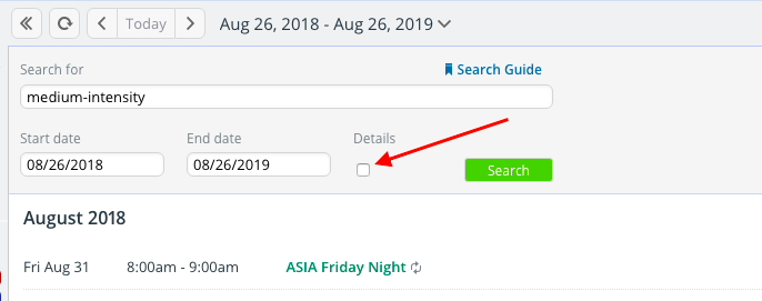 Improved search on Teamup Calendar to see event details in search results