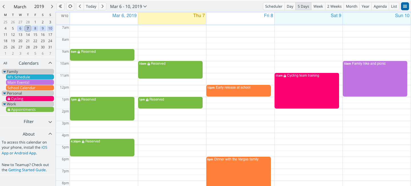 Avoid privacy issues; share sub-calendar selectively and keep your overview with Teamup Calendar