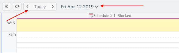Use the date picker options in Scheduler view
