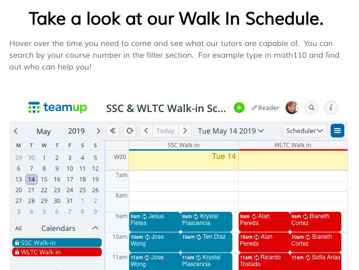 An embedded calendar with walk in tutoring sessions