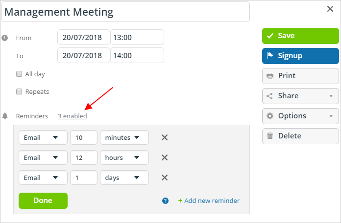 Set up individual event reminders from your Teamup calendar