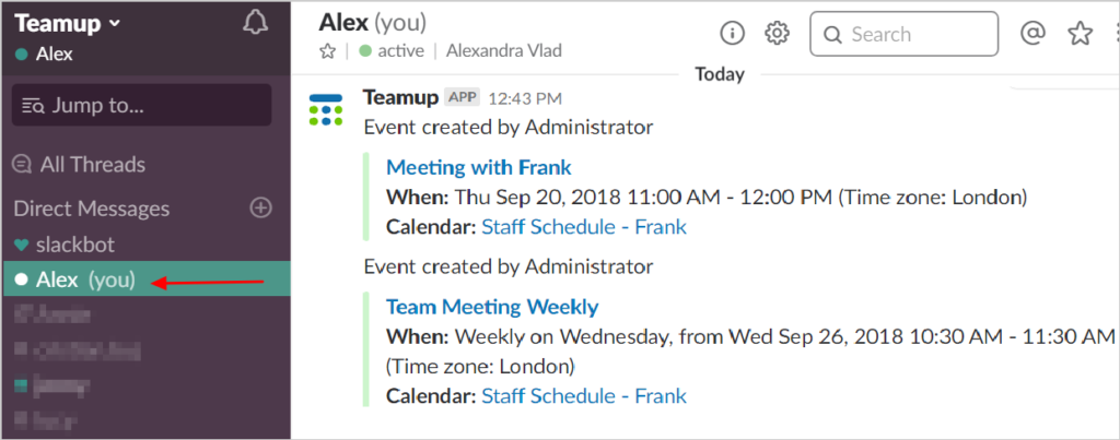 Receive calendar notifications in a private Slack channel