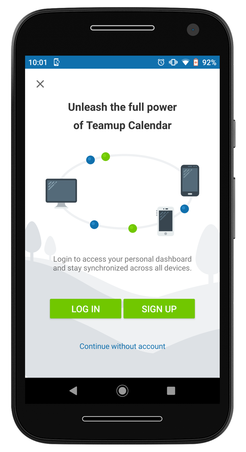 New: Synced Calendar Dashboard on Teamup Android App