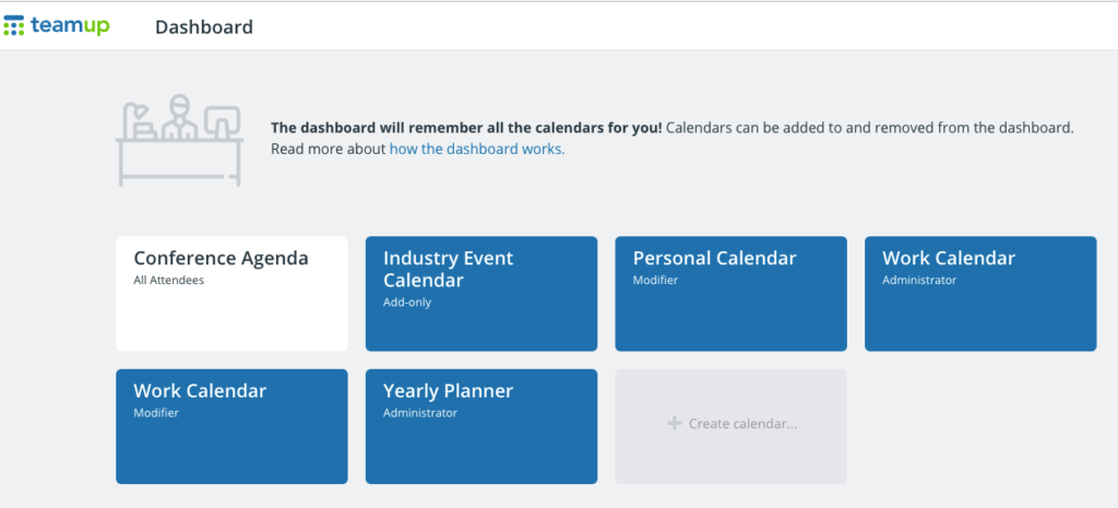 Access a synced calendar dashboard on Teamup's Android app