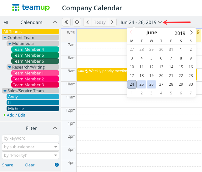 The secondary date picker in your Teamup calendare or show the date picker in your customizable Teamup calendar