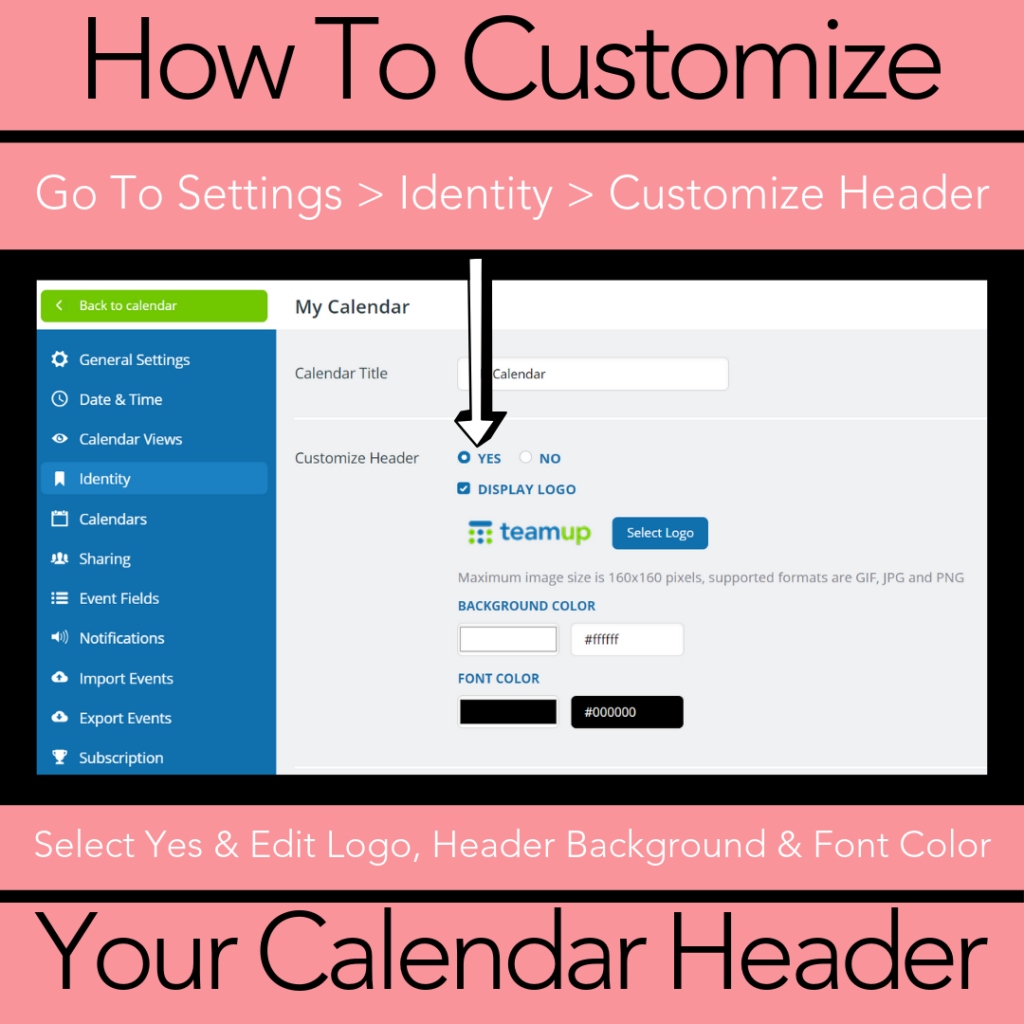 Customize the header and logo on your calendar