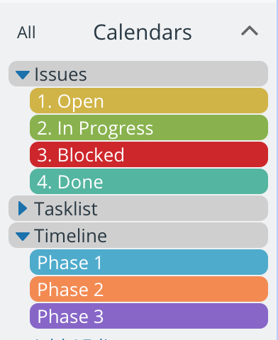Create sub-calendars and organize them in a project timeline folder
