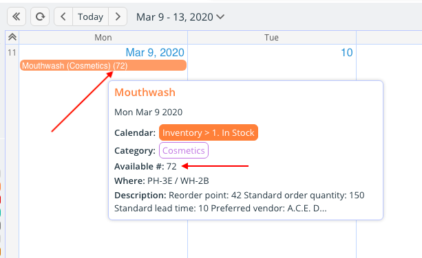 Track information for an inventory template on a Teamup calendar.