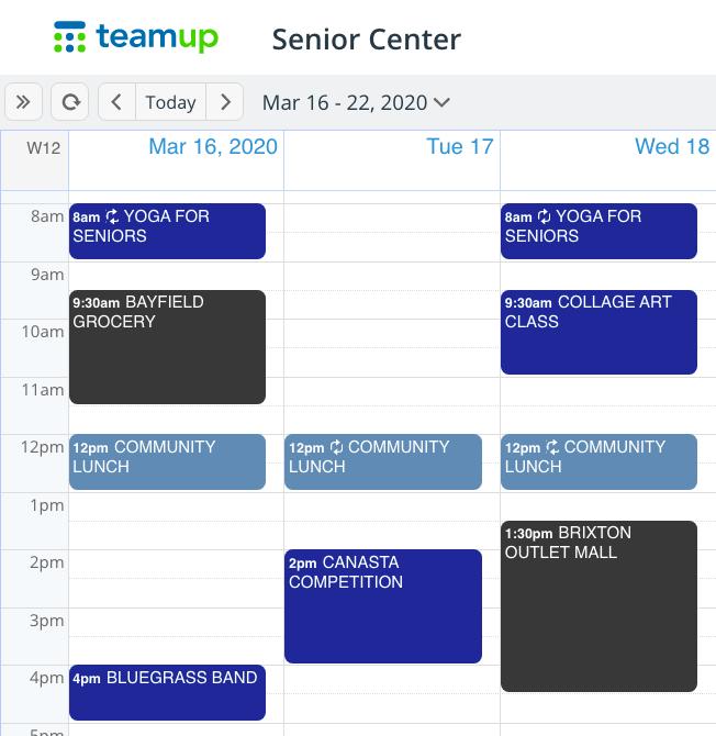 Set up a simple senior activities calendar
