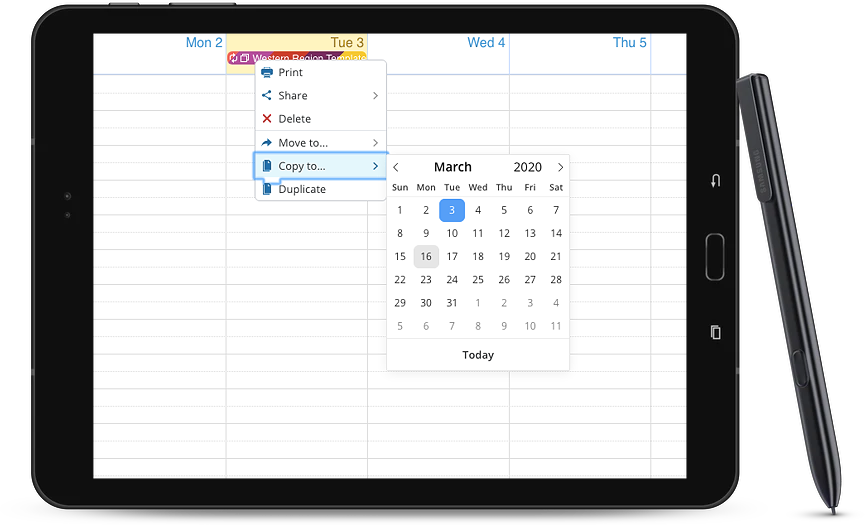 Use a template event to select a group of sub-calendars