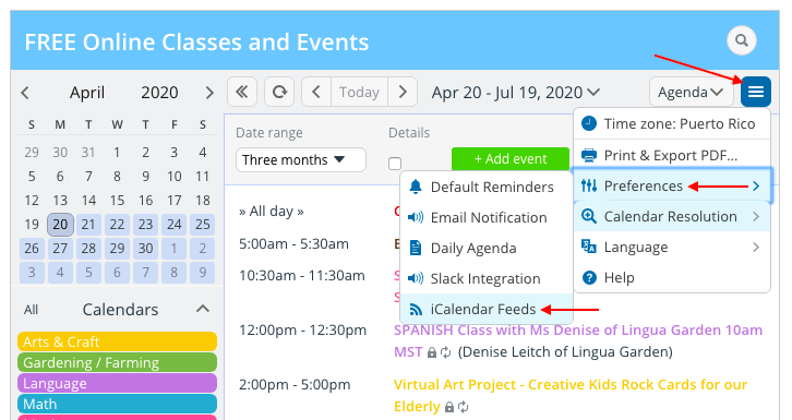 A curated calendar for online classes and events