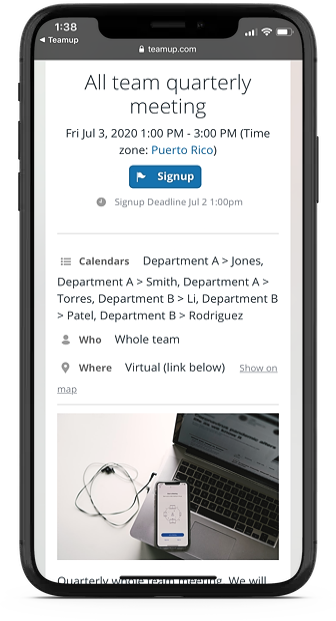 Send a calendar invite on iPhone or Android with an event page from your Teamup calendar.