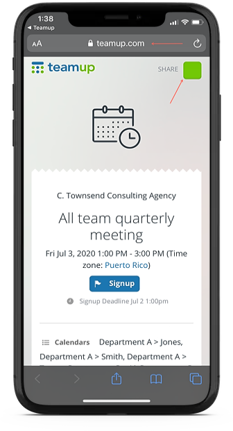 Send calendar invites on iPhone or Android with TEamup