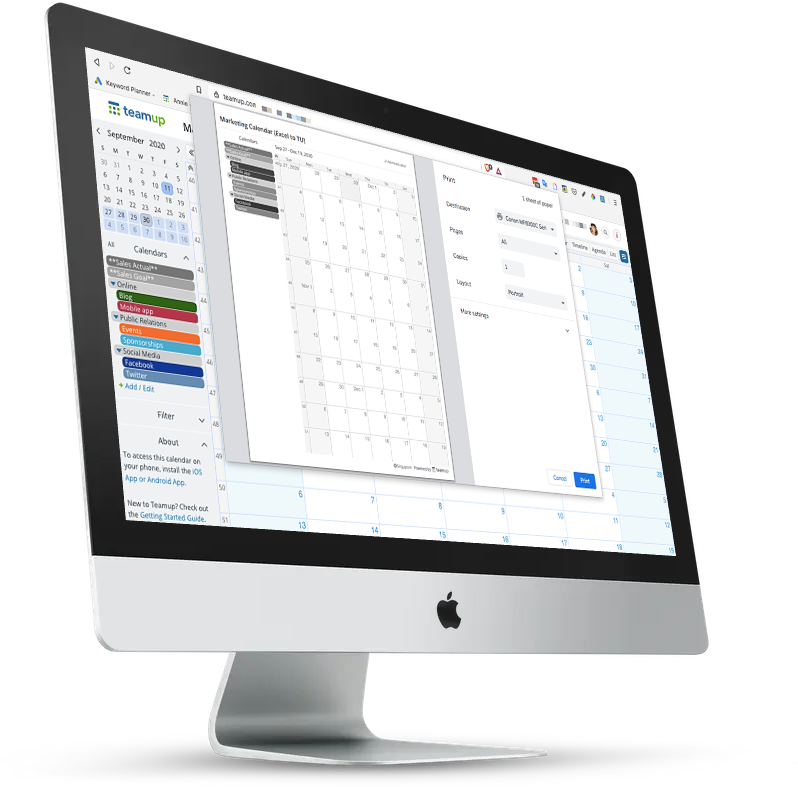 Print multiple months from your Teamup calendar
