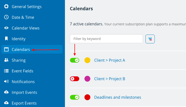 Use project sub-calendars and deactivate when no longer needed