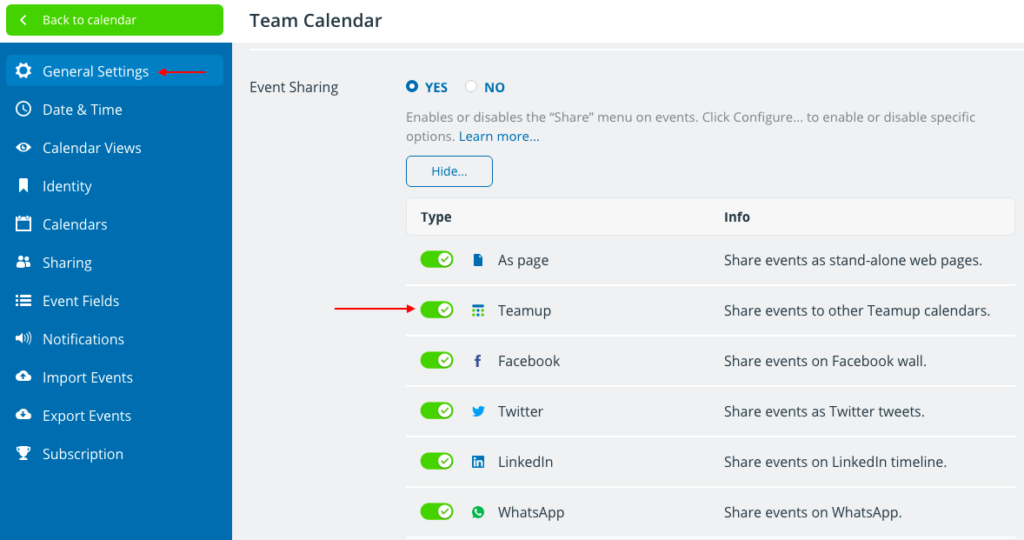 Configure sharing options to share an event to another Teamup calendar