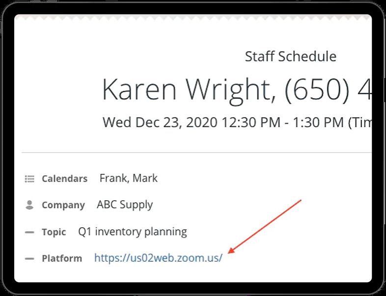 Active links in calendar event fields