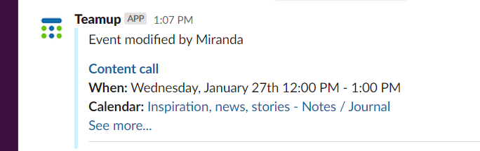 Slack notification of change on calendar