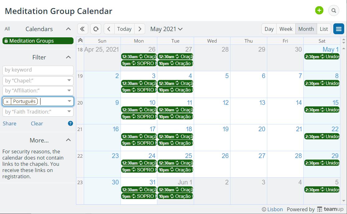 meditation calendar filtered by language
