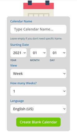 Blank calendar generator