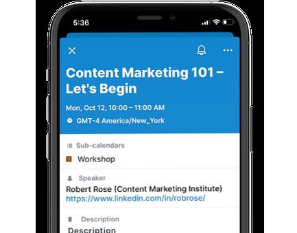 Teamup iOS app hyperlink in a text field