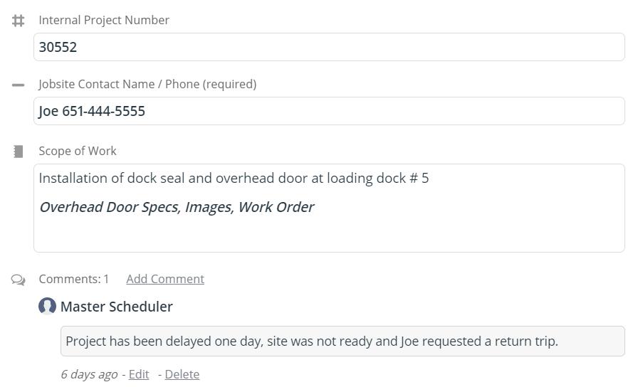 job details master scheduler