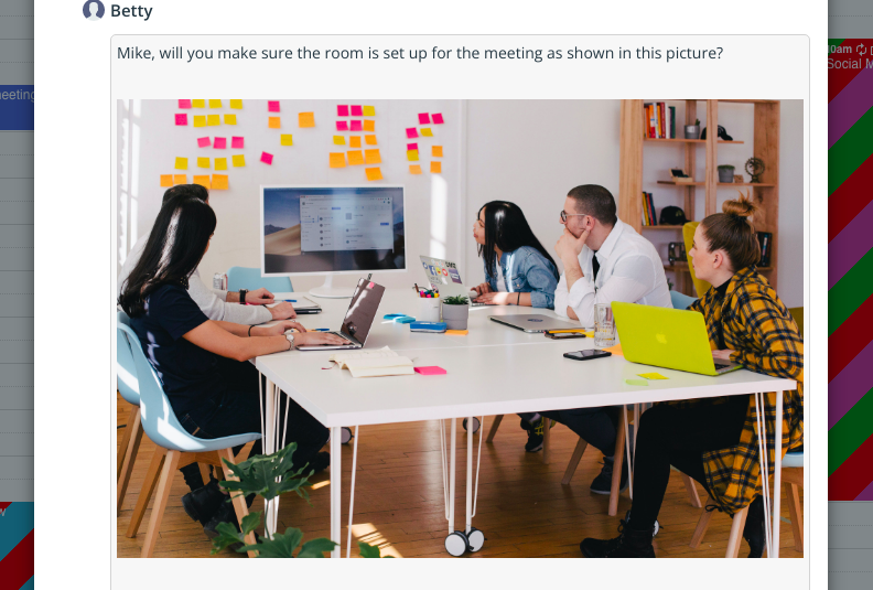 Show images, notes to manage information for office staff..